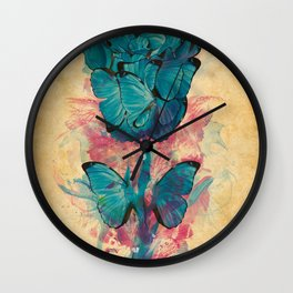 Butterfly Rose Wall Clock