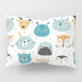 Children's print with cartoon characters-deer and monsters. Pillow Sham