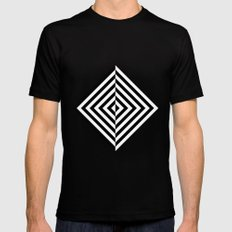 Black and White Concentric Diamonds Black MEDIUM Mens Fitted Tee