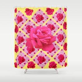 FUCHSIA PINK ROSE PATTERNS & YELLOW GARDEN ART Shower Curtain