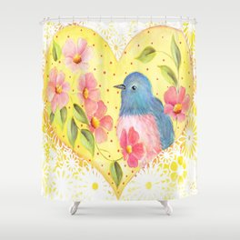 Flowers and Bird in Heart Shower Curtain