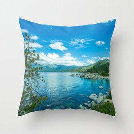 Photo USA Lake Tahoe Nature Sky Scenery Coast Ston Throw Pillow