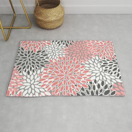 🤍 Floral Prints, Coral, Gray and White, Abstract Art Rug
