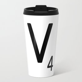 Letter V - Custom Scrabble Letter Tile Art - Scrabble V Initial Travel Mug