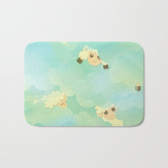 Heavenly Baby Sheep I - Mint Green, Baby Blue Colors Sky Background Bath Mat