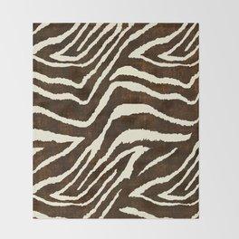 ANIMAL PRINT ZEBRA IN WINTER 2 BROWN AND BEIGE Throw Blanket