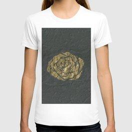 Golden Rose on Textured Canvas T-shirt