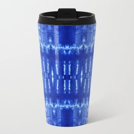 tie dye ancient resist-dyeing techniques Indigo blue textile abstract pattern Travel Mug