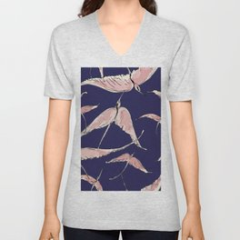 Flamingos in Flight on Navy Unisex V-Neck