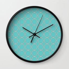 Turquoise Blue Quatrefoil Pattern Wall Clock