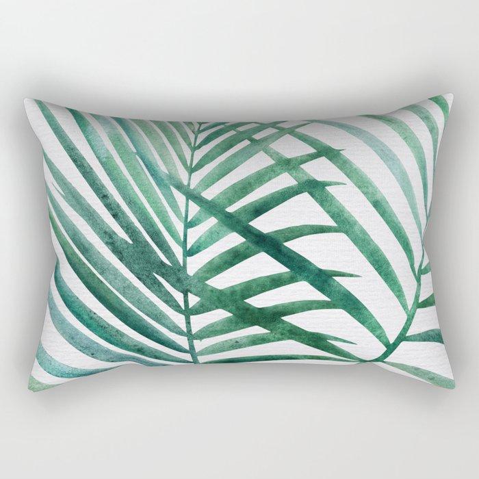Emerald Palm Fronds Watercolor Rectangular Pillow