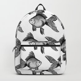 Black Goldfish Pattern Backpack