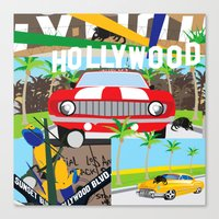 hollywood Canvas Prints featuring Hollywood by Laia Kaie