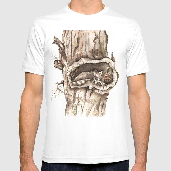 Sleeping Raccoon in Tree Hollow T-shirt