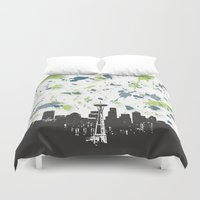 seahawks Duvet Covers featuring Seahawks Seattle Skyline by Blythe Green