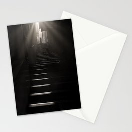 Sunlight and Shadow, City Steps, Morning black and white photography / photograph Stationery Cards