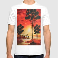 African sunset MEDIUM White Mens Fitted Tee