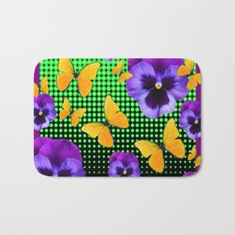 PURPLE PANSIES BUTTERFLY GREEN COLLAGE Bath Mat