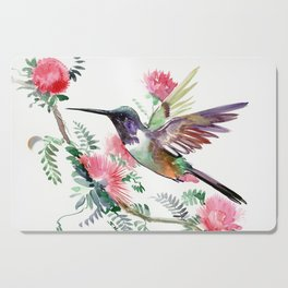 Flying Hummingbird and Red Flowers Cutting Board
