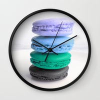 macaroons Wall Clocks featuring macarons / macaroons by Whimsy Romance & Fun