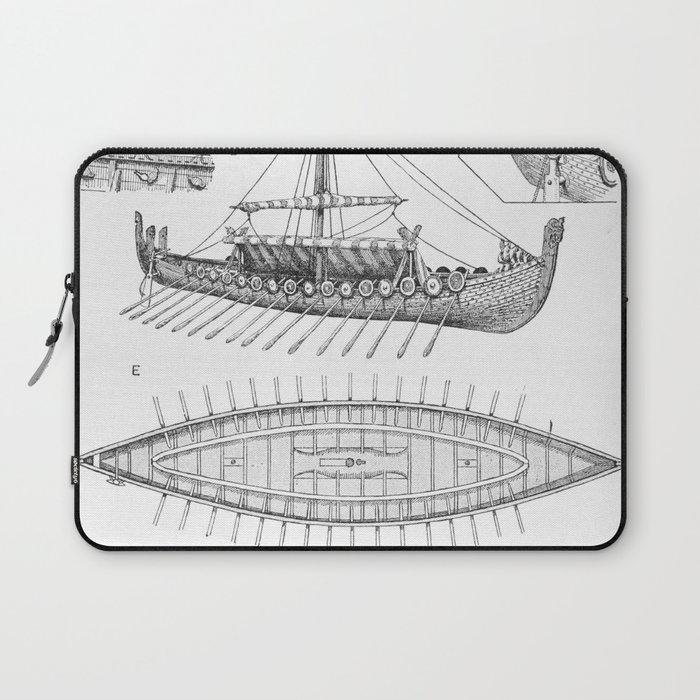 vintage viking naval ship history and diagram laptop sleeve by bravuramedia  | society6