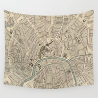 moscow Wall Tapestries featuring Vintage Map of Moscow (1836)  by BravuraMedia