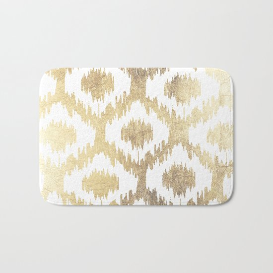 Modern white hand drawn ikat pattern faux gold  Bath Mat