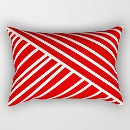 Red and White Asymmetrical Stripes Rectangular Pillow