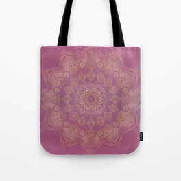 Gold Mandala on Pink and Purple Watercolor Tote Bag