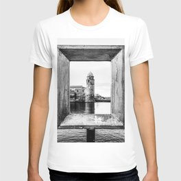 Picture Perfect | Black and White Collioure France Medieval Church Tower Scenic View Marina T-shirt