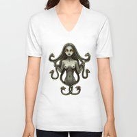 medusa V-neck T-shirts featuring Medusa by Freeminds