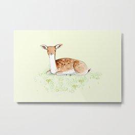 Happy Fallow Deer Metal Print
