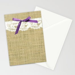 girly burlap and lace with purple bow Stationery Cards
