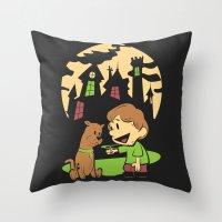 hobbes Throw Pillows featuring Shaggy n Scoob by Moysche Designs