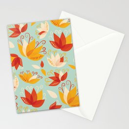 Whimsical Abstract Colorful Lily Flower Pattern Stationery Cards