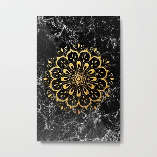 Gold mandala on black marble Metal Print
