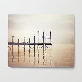 Peach Coastal, Beach Photography, Pier Seaside Photograph by Carolyn Cochrane Metal Print