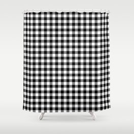 Medium Black Christmas Gingham Plaid Check Shower Curtain