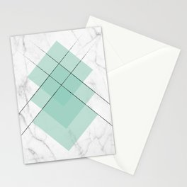 Marble Scandinavian Design Geometric Squares Stationery Cards
