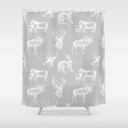 Woodland Critters in Grey Shower Curtain