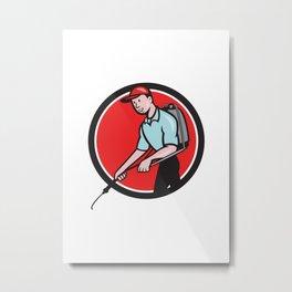 Pest Control Exterminator Spraying Circle Cartoon Metal Print