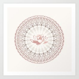 Cream Rose Lotus and Mandala Art Print