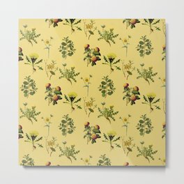 Wild Forest and Field Yellow Flower Herb Pattern Metal Print