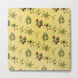 Wild Forest & Field Yellow Flower Herb Pattern Metal Print
