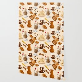 Coffee and Cookie Pattern Wallpaper