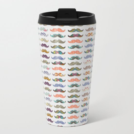 Mustache Mania Metal Travel Mug