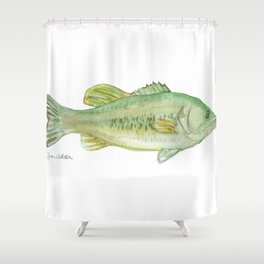 Largemouth Bass Watercolor Shower Curtain