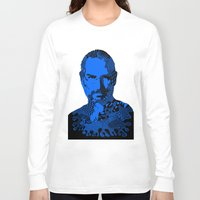 steve jobs Long Sleeve T-shirts featuring Steve Jobs blue by Rebecca Bear