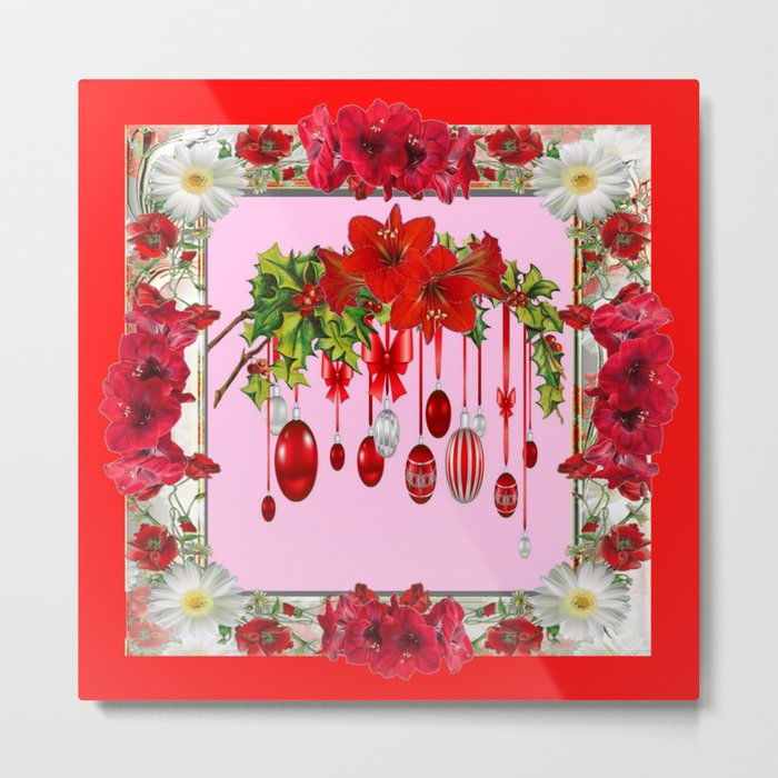RED AMARYLLIS FLOWERS & HOLIDAY ORNAMENTS PINK DECOR Metal Print