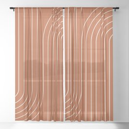 Minimal Line Curvature - Coral Red Sheer Curtain